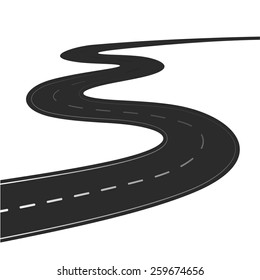 Winding road vector illustration isolated on a white background