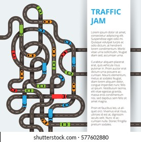 A lot of winding roads with colorful cars and trucks. Traffic concept in modern flat style for web banners and info graphics.