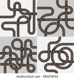 Winding roads set for banners and info graphics. Curve roads in modern flat style. Vector illustration