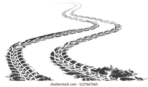 Winding tire track. Curved tracks, print marked pattern isolated on white background, vector car wheel dirty signs