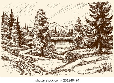 Winding track near grove on hill leading to rivulet in cloudy spring day. Vector monochrome freehand sketchy linear ink drawn background in vintage hatch engraving style, space for text on rainy sky