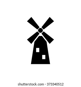 Windmill black line icon,Vector illustration.EPS 10, mill icon