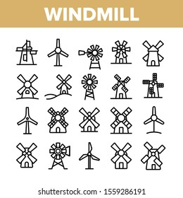 Windmill Building Collection Icons Set Vector Thin Line. Ancient Windmill For Flour Production And Electrical Wind Turbine Concept Linear Pictograms. Monochrome Contour Illustrations