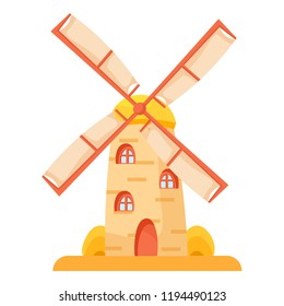 Windmill cartoon traditional rural wind energy mill farm power ecology watermill Flour mill, grinds grain. Windmill with millstones. Grain processing. Flat vector illustration isolated