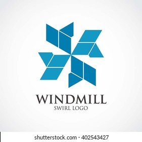 Windmill circle of air abstract vector and logo design or template swirl business icon of company identity symbol concept