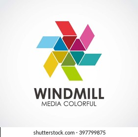 Windmill colorful of circle abstract vector and logo design or template creative business icon of company identity symbol concept