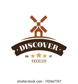 Windmill Discover Logo Vintage Style. Flat Isolated Vector Graphic Illustration