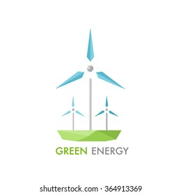 Windmill for electric power production logo. Modern low-poly concept of alternative energy generator. Green earth conservation.
