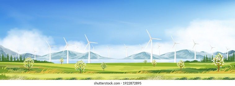 Windmill for electric power productions on green grass fields,Spring morning sky,cloud with alternative energy creation with wind power in farmland,Landscape with turbine energy on sunny day Summer