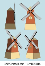 Windmill farm building Vector