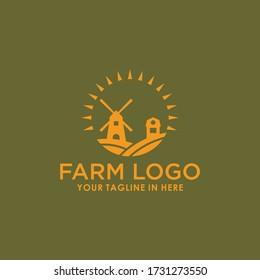 windmill farm vintage logo design template vector, village retro brand logo template