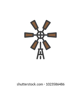 Windmill filled outline icon, line vector sign, linear colorful pictogram isolated on white. Symbol, logo illustration. Pixel perfect vector graphics