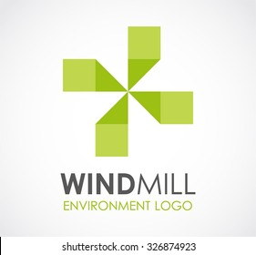 Windmill green natural energy abstract vector and logo design or template environment business icon of company identity symbol concept