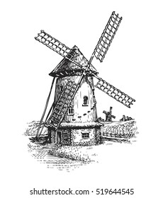 Windmill. Hand drawn vintage sketch vector illustration