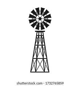 Windmill icon. Black and white vector illustration wind pump. Wind turbine with blades.