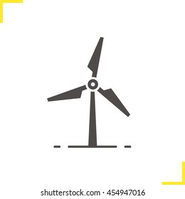 Windmill icon. Drop shadow silhouette symbol. Wind eco energy. Negative space. Vector isolated illustration