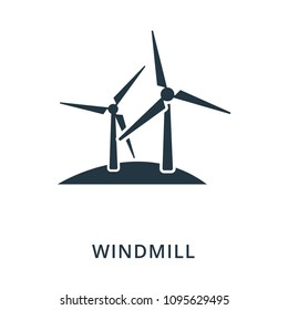 Windmill icon. Flat style icon design. UI. Illustration of windmill icon. Pictogram isolated on white. Ready to use in web design, apps, software, print.