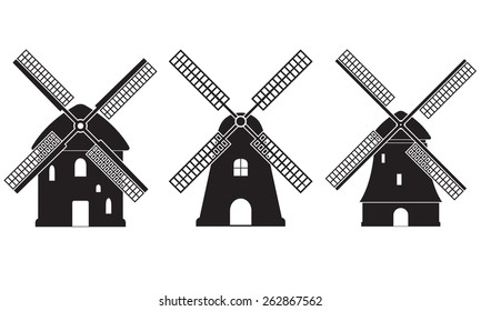 Windmill icon set isolated on white background. Mill symbol. Vector illustration.