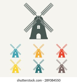Windmill icon or sign. Mill symbol in flat style. Colorful vector illustration.