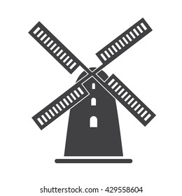 Windmill icon Vector Illustration on the white background.