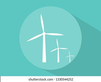 Windmill icons with long shadow vector