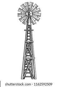 Windmill illustration, drawing, engraving, ink, line art, vector