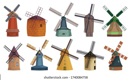 Windmill isolated cartoon set icon. Vector illustration vintage mill on white background. Vector cartoon set icon windmill .
