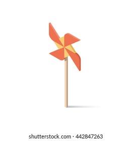 Windmill isometric concept vector illustration