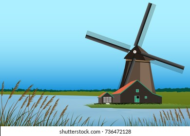 Windmill and lake landscape graphic vector