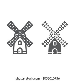 Windmill line and glyph icon, farming and agriculture, farm mill sign vector graphics, a linear pattern on a white background, eps 10.