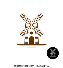 Windmill linear style logo with sweeps as a wheat ears