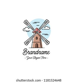 Windmill logo. Bakery emblem design. Outline style. Vector illustration