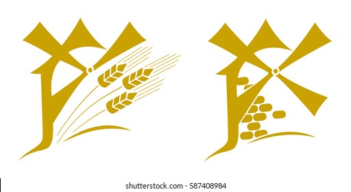 Windmill, logo, emblem with ears of wheat. Vector illustration