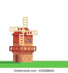 Windmill logo pixel art icon. Traditional european mill. Village farm buildings, agriculture. Isolated vector illustration. Design stickers, logo bakery, mobile app. 8-bit sprite.