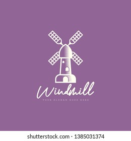 Windmill logo template vector. Farm building logo template. Windmill logo concept