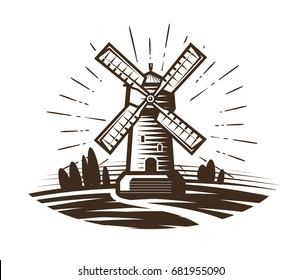 Windmill, mill logo or label. Farm, agriculture, bakery, bread icon. Vintage vector illustration