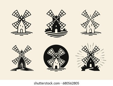 Windmill, mill logo or label. Flour, bakery icons set. Vector illustration