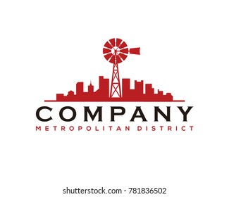 Windmill on the City - Real Estate - Skyscrapers Building Modern Logo Company