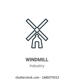 Windmill outline vector icon. Thin line black windmill icon, flat vector simple element illustration from editable industry concept isolated stroke on white background