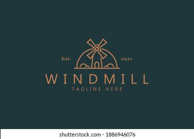 Windmill Premium Vector Logo Badge. Farm and Agricultural Sign Symbol. Best Design Template Logo.