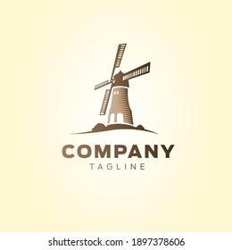 Windmill Retro Vintage Logo Template