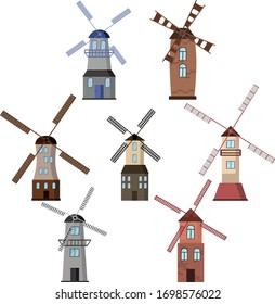 Windmill set. Different types of windmills