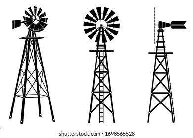 Windmill silhouette illustration vector on white background