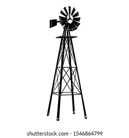 Windmill silhouette ilustration vector on white background