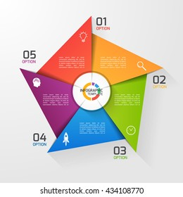 Windmill style circle infographic template for graphs, charts, diagrams. Business, education and industry concept with 5 options, parts, steps, processes.