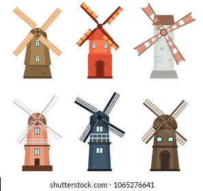 Windmill traditional rural wind energy mill farm power ecology watermill vector illustration. Electricity generator propeller agriculture tower, alternative energy generation windmill turbine.