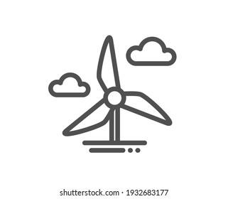 Windmill turbine line icon. Wind power energy sign. Alternative supply symbol. Quality design element. Linear style windmill turbine icon. Editable stroke. Vector