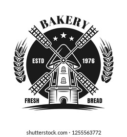 Windmill vector black emblem or badge for bakery in vintage monochrome style isolated on white background
