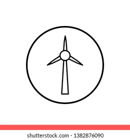 Windmill vector icon, ecology symbol. Simple, flat design for web or mobile app