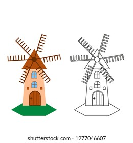 windmill vector on white background